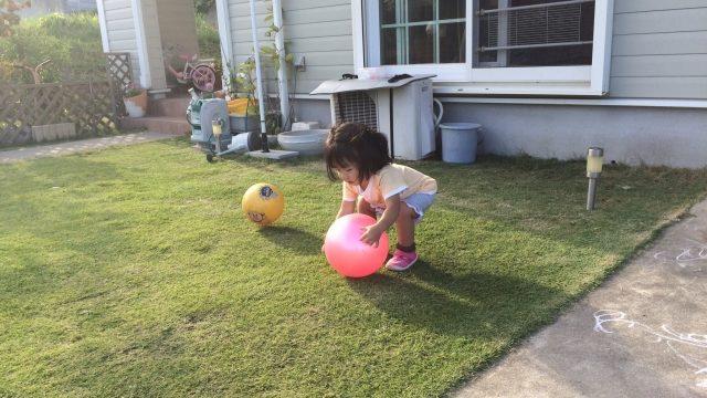 子供が安全な庭で遊んでいる様子