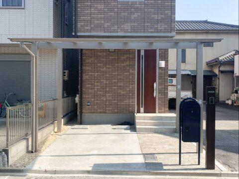 名古屋市北区のアプローチ・駐車場・カーポート・フェンス・人工芝の施工事例